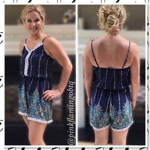 Pink Flamingo Boutique Pants - NEW Boho Crochet Spaghetti Strap Jumpsuit Romper