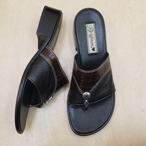Brighton Shoes - Brighton Brown & Black Leather Sandal Low Heels