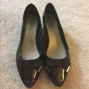 Kelly & Katie Shoes - Kelly & Katie • Black Bow Wedge Flats