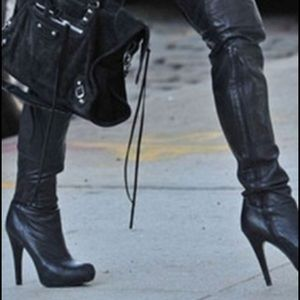 Report Signature Shoes - Report Signature Black Thigh High Leather Boots