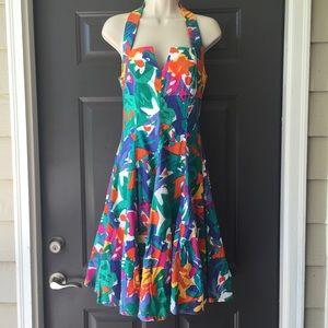 A.J. Bari Dresses & Skirts - A.J. BARI Vintage Floral Multicolored Halter Dress