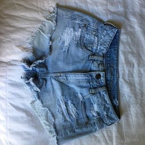 American Eagle Outfitters Pants - High wasted light wash denim cutoff shorts