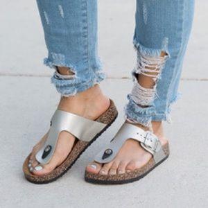  116 Gail Silver Buckle Sandals