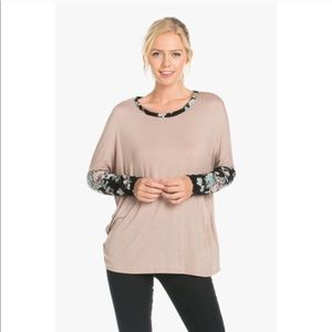 Tops - ✨ Tan top with floral sleeves🌷