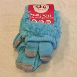So Other - Girls' So Faux Fur Turquoise 3 Way Gloves NWT S