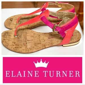Elaine Turner Shoes - Elaine Turner Pink & Fuschia Flat Sandals
