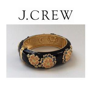 J. Crew Jewelry - J Crew Floral Hinged Bangle Bracelet
