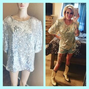 VINTAGE 1980 SEQUINED BLOUSE