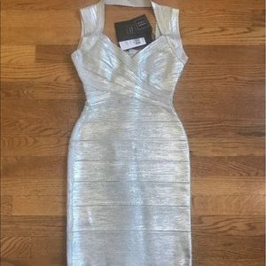 Herve Leger Dresses & Skirts - Herve Leger silver bandage dress amazing NWT XS