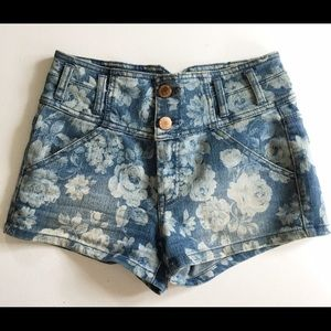 Tinseltown Pants - High Waisted Floral Jean Shorts