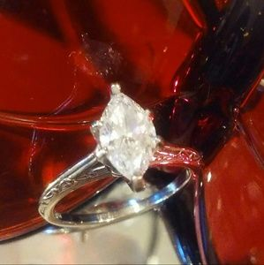 Jewelry - 💖.78tcw Marquise Diamond Solitaire 14K White Gold