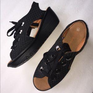 Bernie Mev. Shoes - Bernie Mev lace up black wedges