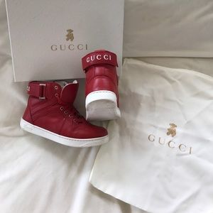 5ae0091f16ef Gucci Shoes - Gucci Boys Red high top leather sneakers size 30