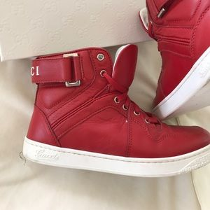 0ec9a234c Gucci Shoes | Boys Red High Top Leather Sneakers Size 30 | Poshmark
