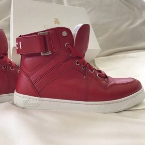aaba3a7e4 Gucci Shoes | Boys Red High Top Leather Sneakers Size 30 | Poshmark
