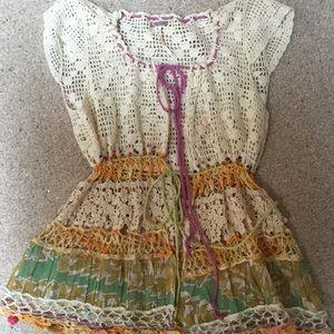 Free People Boho Crochet Top/Vest-Unique!