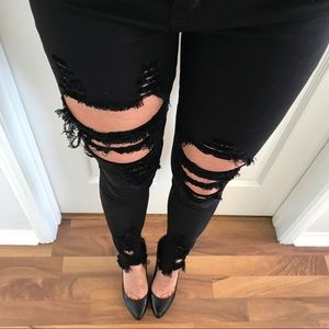 Black Distressed Frayed Skinny Jeans