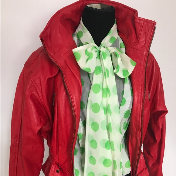 Vintage Jackets & Coats - Gorgeous vintage red leather motorcycle jacket