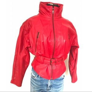 Vintage Jackets & Blazers - Gorgeous vintage red leather motorcycle jacket