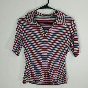 KS Selection Tops - SALE! Vintage 90s Stretchy Striped Polo Shirt