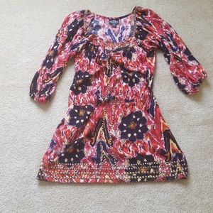 ANGIE Boho summer long sleeve mini dress