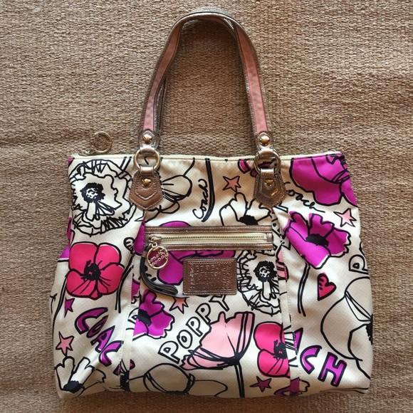 Coach poppy flower print shoulder purse tote bag poshmark coach poppy flower print shoulder purse tote bag mightylinksfo