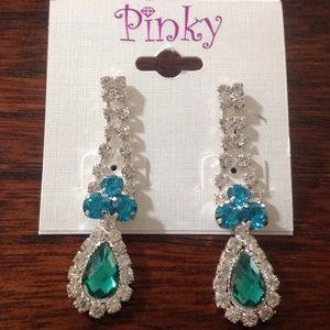 New Rhinestone Teardrop Pierced Earrings