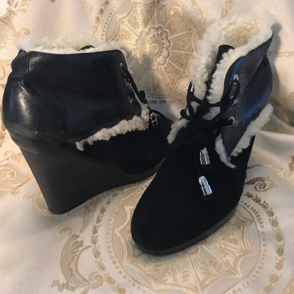86 off hogan shoes hogan suede leather shearling wedge bootie from katz 39 s closet on poshmark. Black Bedroom Furniture Sets. Home Design Ideas