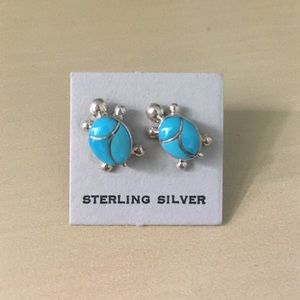 Jewelry - Turquoise Silver Turtle Earrings