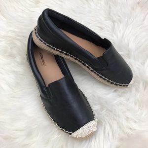 Dollhouse Black Faux Leather Espadrille Flats