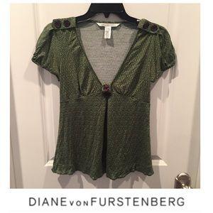 Diane Von Furstenberg Green Silk Blend Blouse