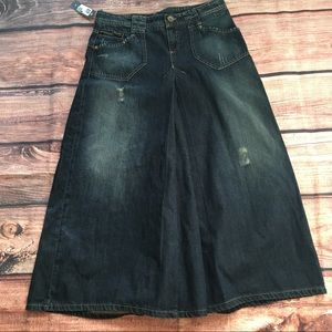Sisley Dresses & Skirts - Sisley Cotton Denim Jean Distressed Long Skirt