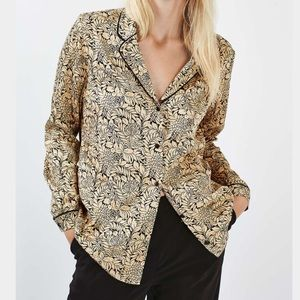 gold and black patterned top shop button up