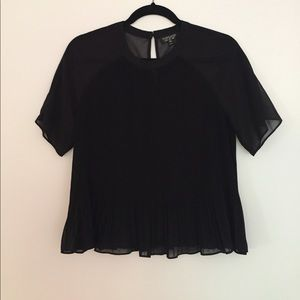 Black Pleated Topshop Top