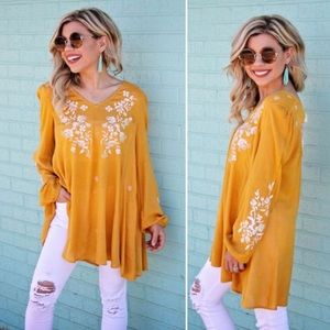 Mustard Embroidery Open Back Tunic Blouse Boho Top