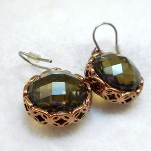 Jewelry - Smoky Gray Rose Gold Earrings