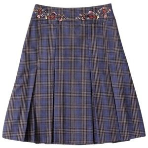 Oilily Dresses & Skirts - Oilily • Plaid Pleated Embroidered Wool Skirt