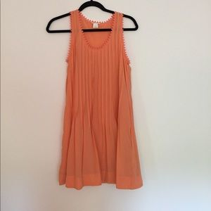 Orange Pleated Silk Club Monaco Dress