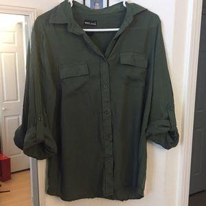 Button down army green blouse