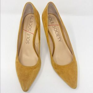 Sole Society Shoes - Sole Society Gold Suede Pumps