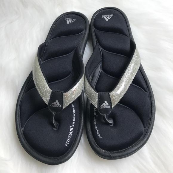 4dd4256c85f084 adidas Shoes - Adidas Silver Glitter Memory Foam Flip Flops