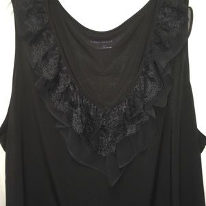 Susan Graver Tops - PLUS Sz 2X Black Sleeveless Top Lace Trim V Neck