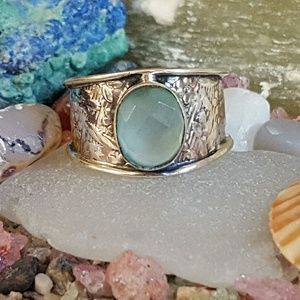 Earth Art hand crafted artisan  Jewelry - Aqua Stone Ring Sterling Silver