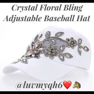 Accessories - Crystal Floral Bling Adjustable White Baseball Cap