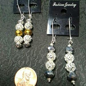Sophia Jewelry - Nugget Gold Earrings & Silver Earrings Set dangle