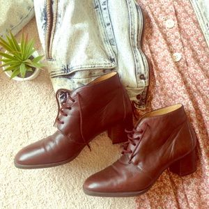 Ipanema Shoes - Vtg 90s Brown Genuine Leather Ankle Boots grunge