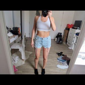 Fashion Nova Pants - Light jean front lace up shorts 💙