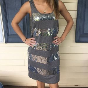 Juicy Couture Grey Sequin Striped Party Dress
