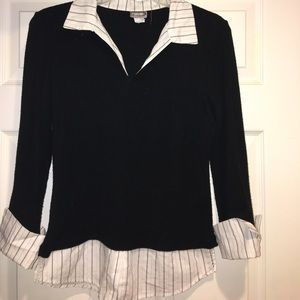 Rave Tops - Rave collared black knit sweater shirt