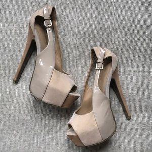 Unbranded Shoes - Hidden Platform Stiletto Pumps Patent Leather Nude